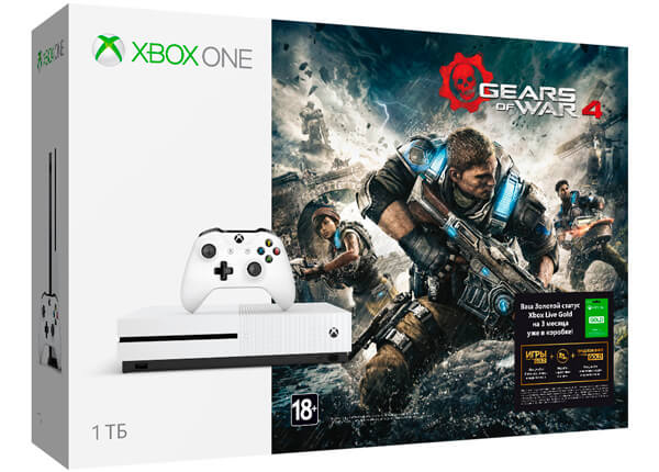 Xbox One S 1Тб + Gears Of War 4